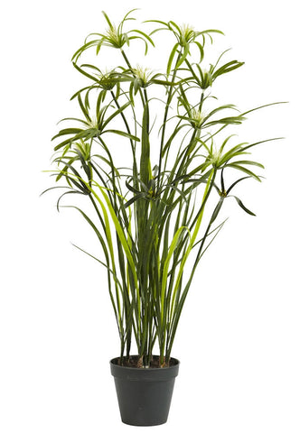 4763 Papyrus Artificial Silk Plant with Planter by Nearly Natural | 3 feet