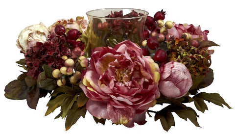 4931 Peony & Hydrangea Artificial Candelabrum by Nearly Natural | 16 inches