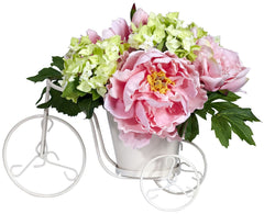 4807 Peony & Hydrangea Silk Tricycle Arrangement by Nearly Natural | 9.5""