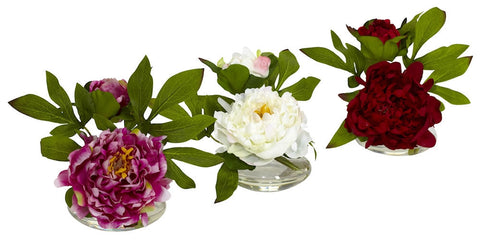 4789 Peony Set of 3 Silk Flowers in Water by Nearly Natural | 6 inches