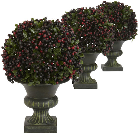 4126 Pepper Berry Set of 3 Silk Ball Topiary by Nearly Natural | 8.5 inches