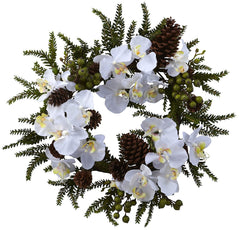 4945 Phalaenopsis & Pine Artificial Wreath by Nearly Natural | 22 inches