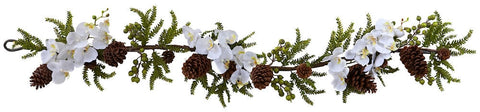 4947 Phalaenopsis & Pine Silk Holiday Garland by Nearly Natural | 5 feet