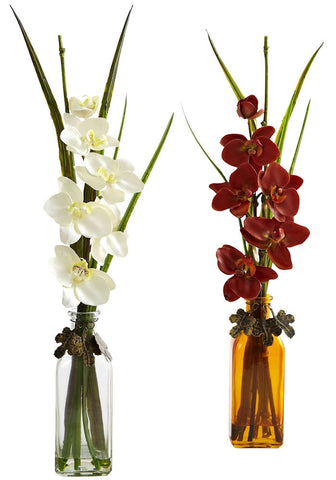 4824-S2 Phalaenopsis Silk Orchid Set/2 in Water by Nearly Natural | 21 inches