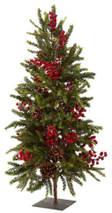 5350 Pine & Berry Artificial Christmas Tree by Nearly Natural | 35 inches