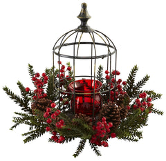 4814 Pine & Berry Silk Holiday Candelabrum by Nearly Natural | 19.5 inches