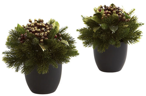4981-S2 Pine & Berry Silk Holiday Arrangements by Nearly Natural | 7 inches