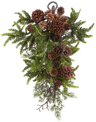 4944 Pine & Pine Cone Silk Holiday Teardrop by Nearly Natural | 26 inches