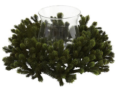 4819 Pine Artificial Silk Holiday Candelabrum by Nearly Natural | 13 inches