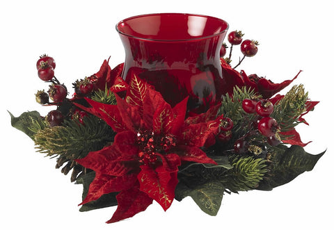 4920 Poinsettia & Berry Holiday Candelabrum by Nearly Natural | 13 inches