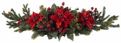 4917 Poinsettia & Berry Holiday Centerpiece by Nearly Natural | 36 inches