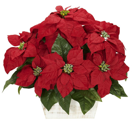 1262 Poinsettia Artificial Holiday Plant by Nearly Natural | 16.5 inches