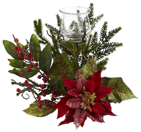 4951 Poinsettia Silk Holiday Candelabrum by Nearly Natural | 25 inches