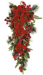 4656 Poinsettia Artificial Holiday Teardrop by Nearly Natural | 30 inches
