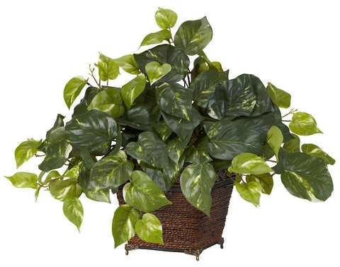 6704 Pothos Silk Plant with Planter by Nearly Natural | 17 inches