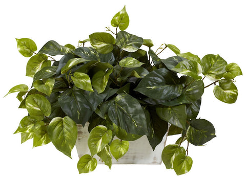 6713 Pothos Silk Plant with Wood Planter by Nearly Natural | 14 inches