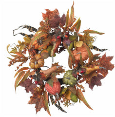 4924 Pumpkin & Berry Artificial Autumn Wreath by Nearly Natural | 24 inches