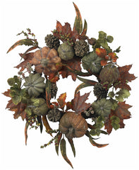 4902 Pumpkin & Gourd Artificial Autumn Wreath by Nearly Natural | 24 inches