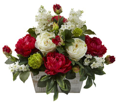 1320 Red & White Silk Flower Arrangement by Nearly Natural | 20 inches