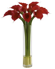 1347 Red Calla Lily Silk Flowers in Water by Nearly Natural | 27 inches