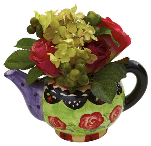 4817 Rose & Hydrangea Teapot Silk Arrangement by Nearly Natural | 8 inches