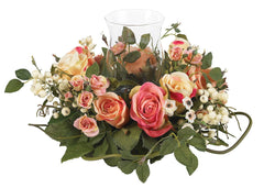 4685-AP Rose Artificial Silk Candelabrum by Nearly Natural | 16 inches