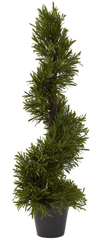 5351 Rosemary Indoor Outdoor Silk Spiral Topiary by Nearly Natural | 30""