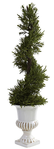 5426 Rosemary Indoor Outdoor Silk Spiral Topiary by Nearly Natural | 3 feet