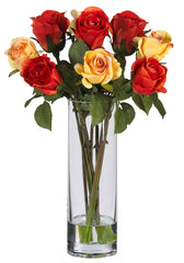 4740 Silk Roses in Water w/Cylinder Vase by Nearly Natural | 16 inches