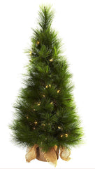5372 Silk Christmas Tree w/Planter & Lights by Nearly Natural | 3 feet