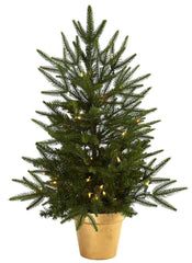 5370 Silk Christmas Tree w/Planter & Lights by Nearly Natural | 30 inches