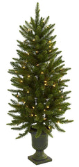 5369 Silk Christmas Tree with Urn & Lights by Nearly Natural | 4 feet