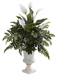 6783 Spathiphyllum & Mixed Greens Silk Plant by Nearly Natural | 32 inches