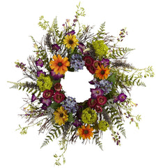 4821 Spring Garden Artificial Silk Wreath by Nearly Natural | 24 inches