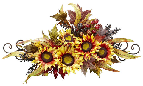 4932 Sunflower Artificial Silk Autumn Swag by Nearly Natural | 27 inches