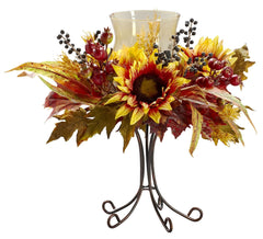 4933 Sunflower Artificial Silk Candelabrum by Nearly Natural | 20 inches