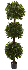5399 Sweet Bay Silk Triple Ball Topiary Tree by Nearly Natural | 6.5 feet