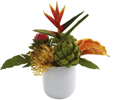 4820 Tropical Floral Silk Arrangement w/Vase by Nearly Natural | 14 inches