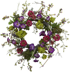 4934 Veranda Garden Artificial Silk Wreath by Nearly Natural | 20 inches
