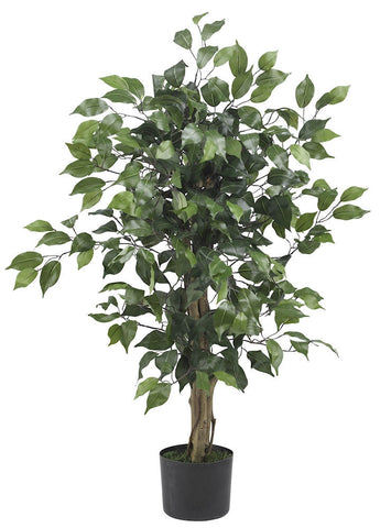 5298 Weeping Fig Ficus Silk Plant with Planter by Nearly Natural | 3 feet
