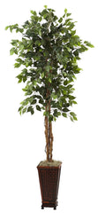 5925 Weeping Fig Ficus Silk Tree with Planter by Nearly Natural | 6.5 feet