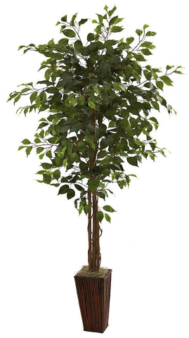 5931 Weeping Fig Ficus Silk Tree with Planter by Nearly Natural | 6 ft