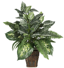 6528 Zebra & Mixed Greens Silk Plant w/Basket by Nearly Natural | 26 inches