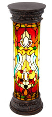 8469 Fleur de Lis Stained Glass Lighted Pedestal by River of Goods | 29.5 inches