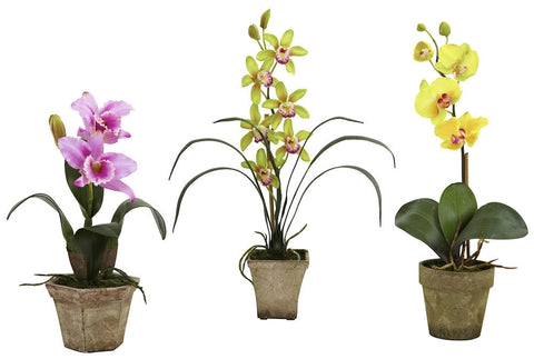 4985-A2-S3 Cattleya Cymbidium Phalaenopsis Orchids A2 S/3 by Nearly Natural | 19""