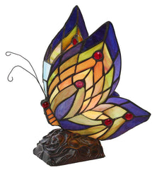8597 Butterfly Wings Stained Glass Accent Lamp by River of Goods | 9.5 inches