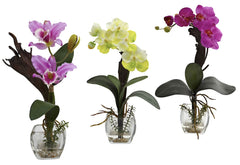 1339-A1-S3 Silk Orchids A1 Set of 3 in Water by Nearly Natural | up to 16 inches