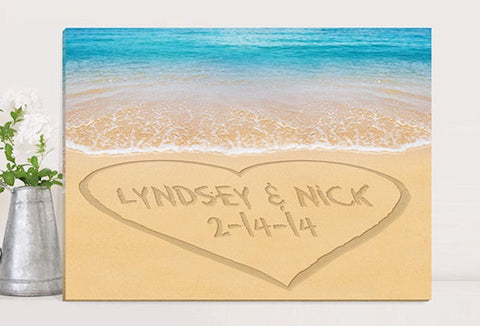 CA0055 Caribbean Heart Couples Print on Canvas in 4 Designs | Personalized Wall Art 24x18