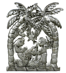 HMDNAT15-534117 Nativity Palm Trees w/Animals Oil Drum Art 9x10.5"