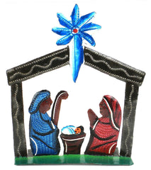 HMDNAT8-534110 Mini Painted Tabletop Nativity Stable Metal Art 5"